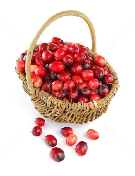 áfonya kosár friss piros fehér étel Stock fotó © elenaphoto