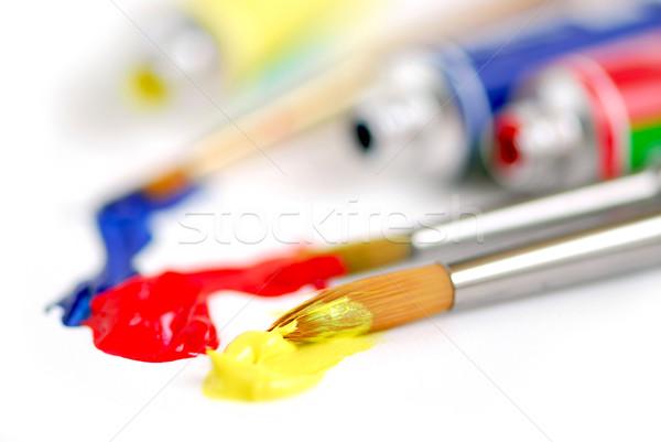 Primário cores pincel macro pincéis pintar Foto stock © elenaphoto
