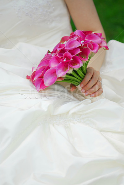 Bride with wedding bouquet Stock photo © elenaphoto