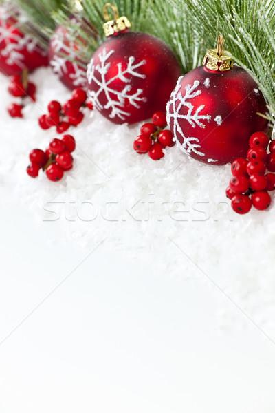 Photo stock: Rouge · Noël · ornements · frontière · décorations · pin