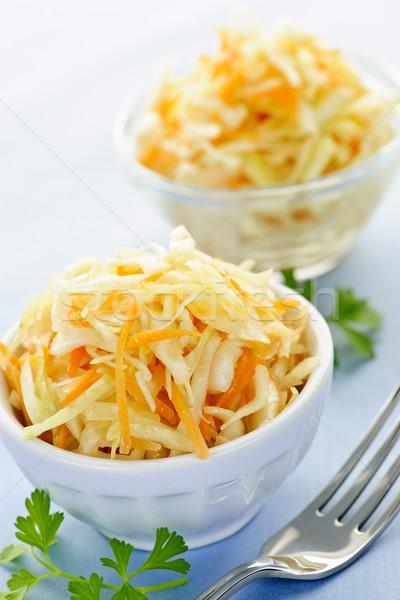 кегли капустный салат два свежие продовольствие вилка Сток-фото © elenaphoto