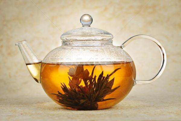 цветения чай зеленый чай стекла чайник Сток-фото © elenaphoto