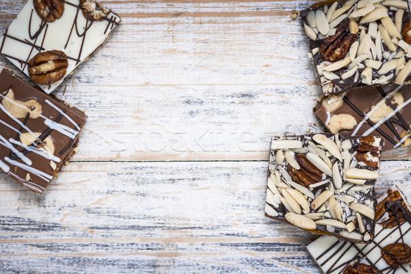Csokoládé ugatás fa karamell darabok fából készült Stock fotó © elenaphoto