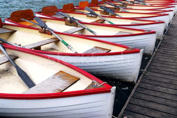 Csetepaté fából készült evezés hajók bérlés fa Stock fotó © elenaphoto