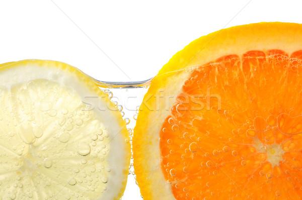 Stock fotó: Narancs · citrom · szeletek · víz · levegő · buborékok