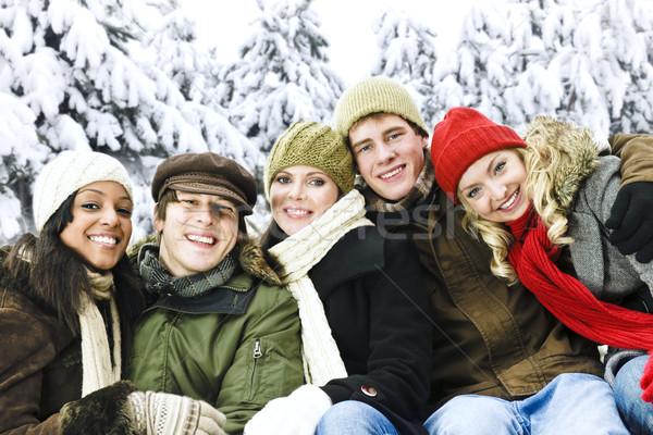 Stock fotó: Csoport · barátok · kívül · tél · sokoldalú · fiatal