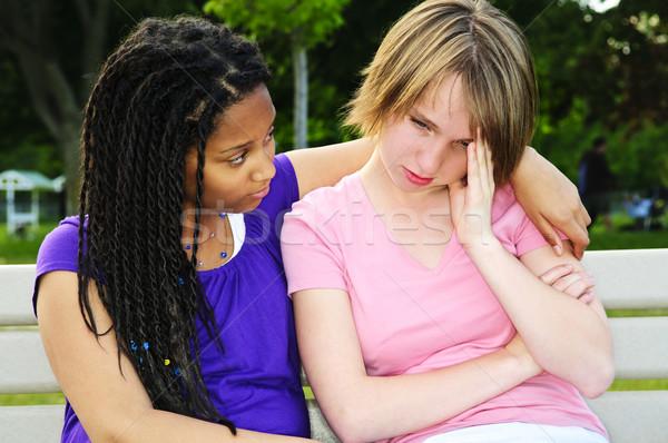 Stok fotoğraf: Genç · arkadaş · genç · kız · üzücü · üzgün · genç