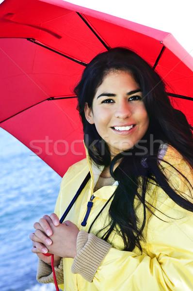Gyönyörű fiatal nő esőkabát esernyő portré mosolyog Stock fotó © elenaphoto