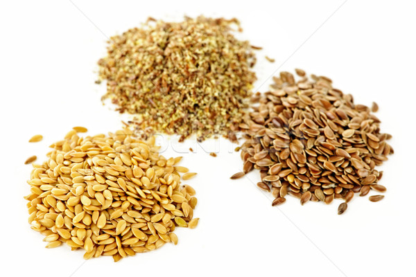 Brown, golden and ground flax seed Stock photo © elenaphoto