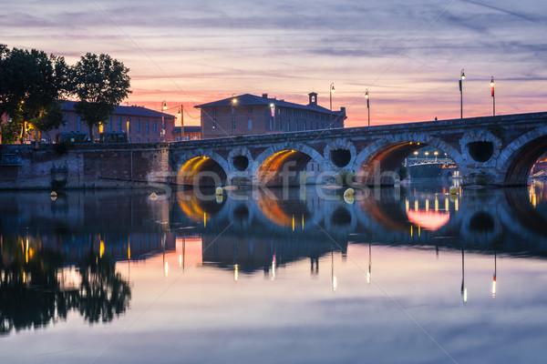 Pont Neuf in Toulouse at sunset Stock photo © elenaphoto
