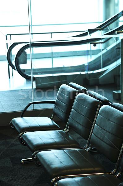 Stockfoto: Luchthaven · interieur · rij · stoelen · roltrap · binnenkant