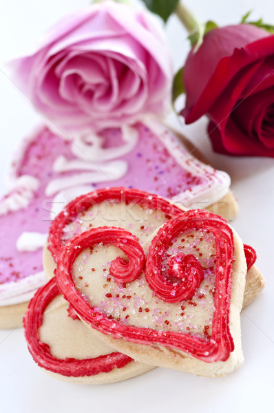 Valentines cookies and roses Stock photo © elenaphoto