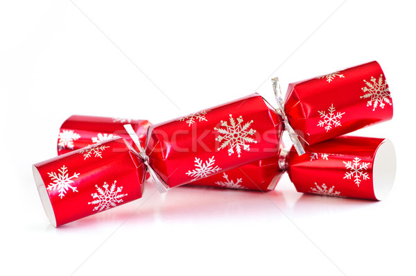 Foto stock: Navidad · dos · rojo · aislado · blanco · papel