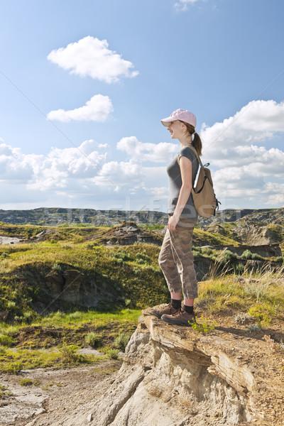 Hiker in badlands of Alberta, Canada Stock photo © elenaphoto