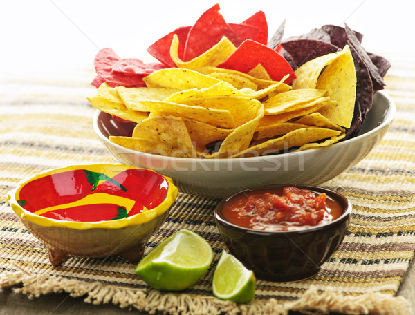 Tortilla chips and salsa Stock photo © elenaphoto