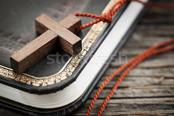 Cross on Bible Stock photo © elenaphoto