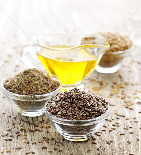 Flax seed and linseed oil Stock photo © elenaphoto