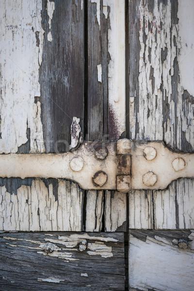 Stockfoto: Scharnier · oude · detail · houten · venster