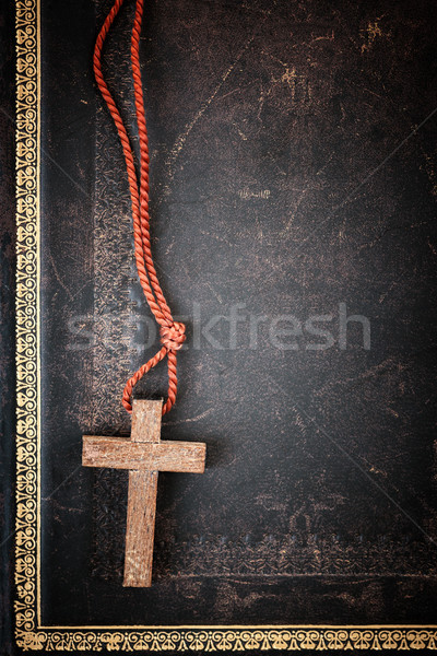 Christian Cross on Bible Stock photo © elenaphoto