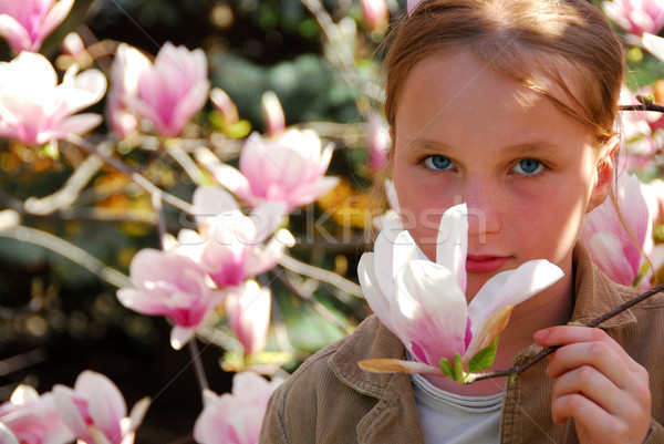 девушки магнолия красивой розовый цветок Сток-фото © elenaphoto