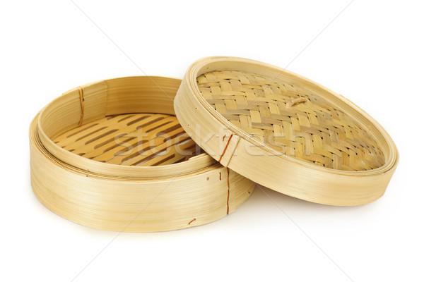 竹 蒸し器 孤立した 白 背景 中国語 ストックフォト © elenaphoto