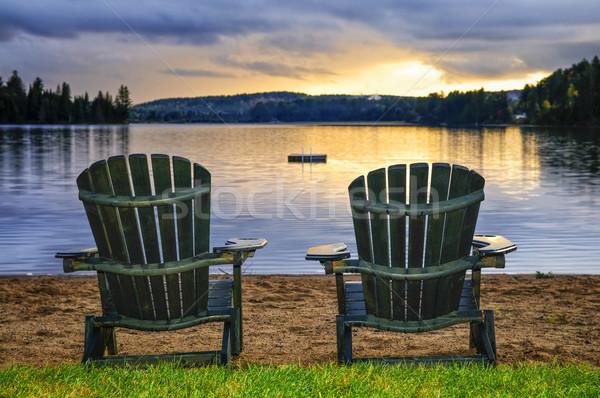 Stock fotó: Fából · készült · székek · naplemente · tengerpart · kettő · megnyugtató