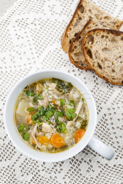 Stok fotoğraf: Fincan · sıcak · tavuk · pirinç · çorba