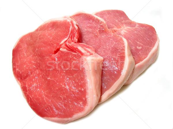 Wieprzowina surowy odizolowany biały czerwony mięsa Zdjęcia stock © elenaphoto