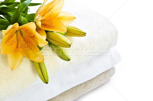 スタック タオル ソフト 孤立した 白 花 ストックフォト © elenaphoto