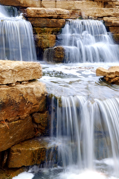 Waterval mooie natuurlijke rotsen landscaping element Stockfoto © elenaphoto
