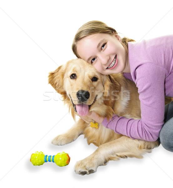 Stockfoto: Meisje · golden · retriever · hond · tienermeisje · huisdier