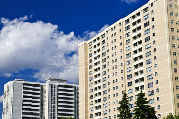 Photo stock: Appartement · bâtiments · résidentiel · ciel · bleu · bâtiment