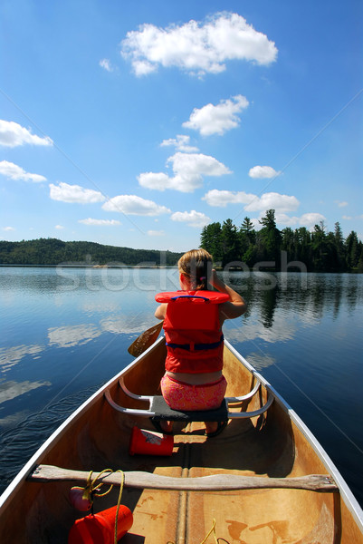 Child in canoe Stock photo © elenaphoto
