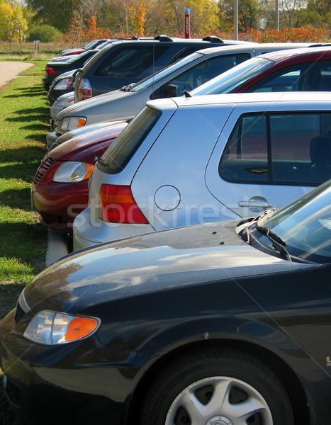 Coches estacionamiento brillante caída día Foto stock © elenaphoto