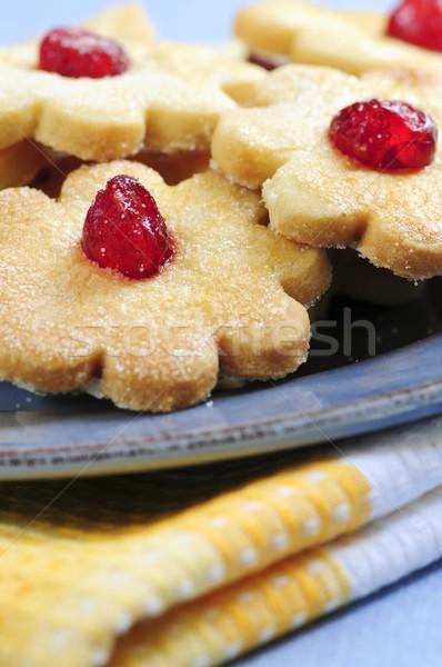 Cookies свежие служивший пластина продовольствие синий Сток-фото © elenaphoto