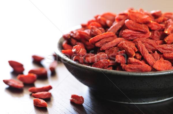 Stockfoto: Bessen · vol · kom · Rood · gedroogd · vruchten
