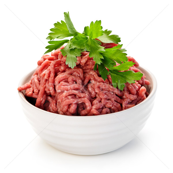 Bowl of raw ground meat Stock photo © elenaphoto