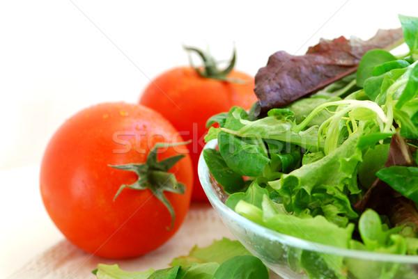 赤ちゃん 菜 トマト 新鮮な サラダ 白 ストックフォト © elenaphoto