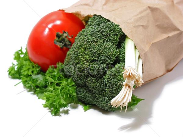 Warzyw brązowy papier worek odizolowany biały zielone Zdjęcia stock © elenaphoto