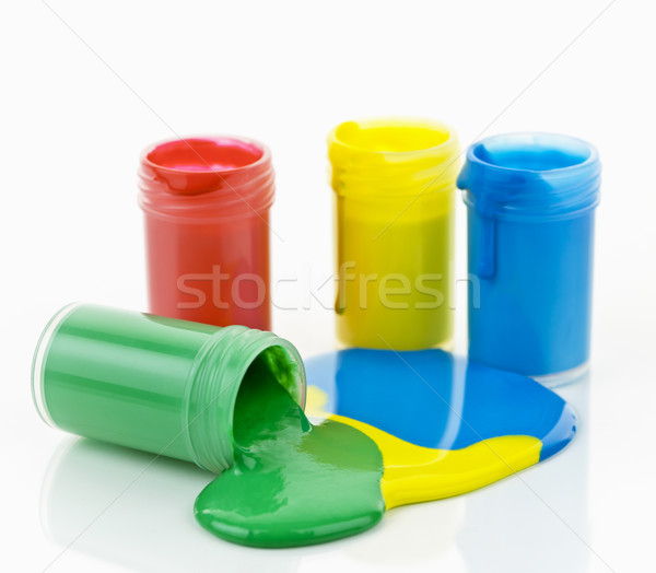 Paint of various colors spilled Stock photo © elenaphoto