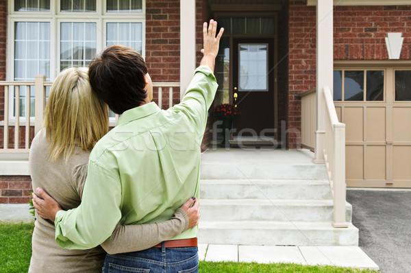 Stock fotó: Boldog · pár · otthon · fiatal · vásárlás · új · otthon