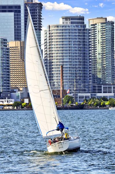 Velero Toronto puerto vela puerto centro de la ciudad Foto stock © elenaphoto