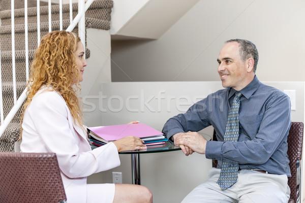 деловое совещание служба человека женщину работу Сток-фото © elenaphoto