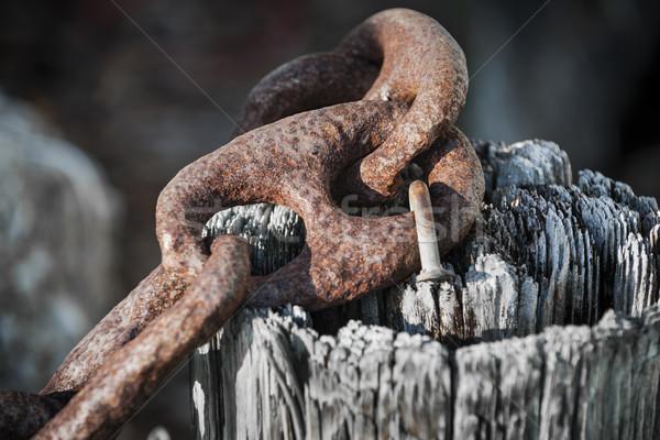 Rusty iron chain railing fragment Stock photo © elenaphoto