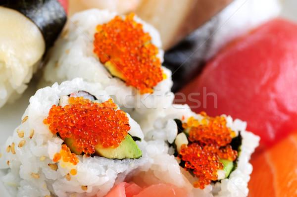 Сток-фото: суши · Калифорния · пластина · макроса · продовольствие