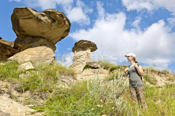 Hiker in badlands of Alberta, Canada Stock photo © elenaphoto