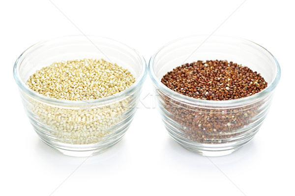 Stock photo: Red and white quinoa grain in bowls