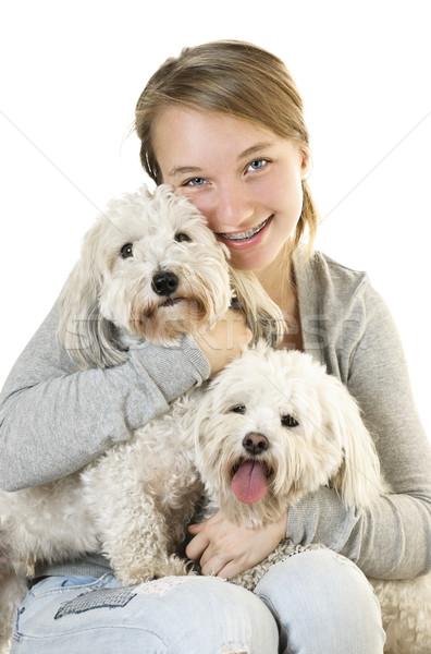 Teen girl with cute dogs Stock photo © elenaphoto