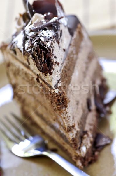 Stock photo: Slice of chocolate cake