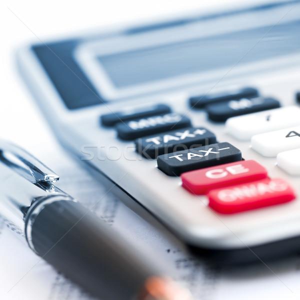 Stok fotoğraf: Vergi · hesap · makinesi · kalem · sayılar · gelir · dönmek